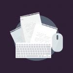 dessin représentant les éléments d'un bureau : feuilles de notes, clavier et souris d'ordinateur