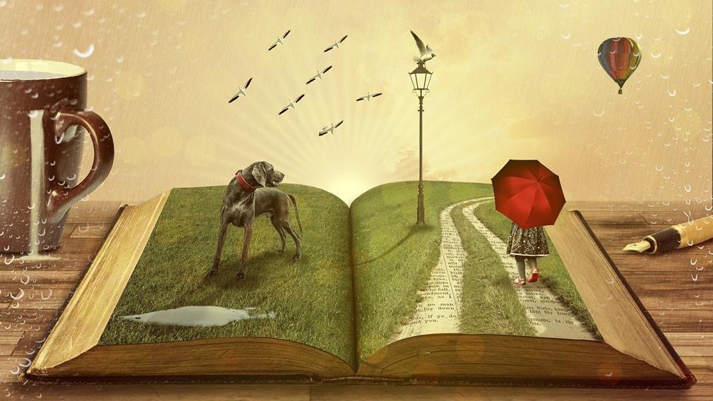 Personnages (oiseaux, chiens, enfants) sortant d'un livre ouvert