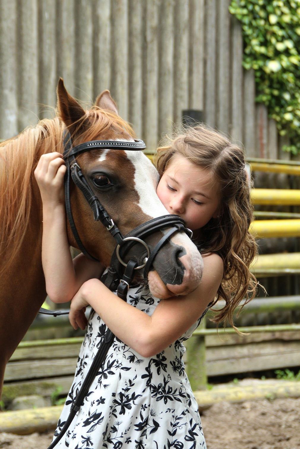 Petite fille enlaçant la tête d'un poney pour l'embrasser