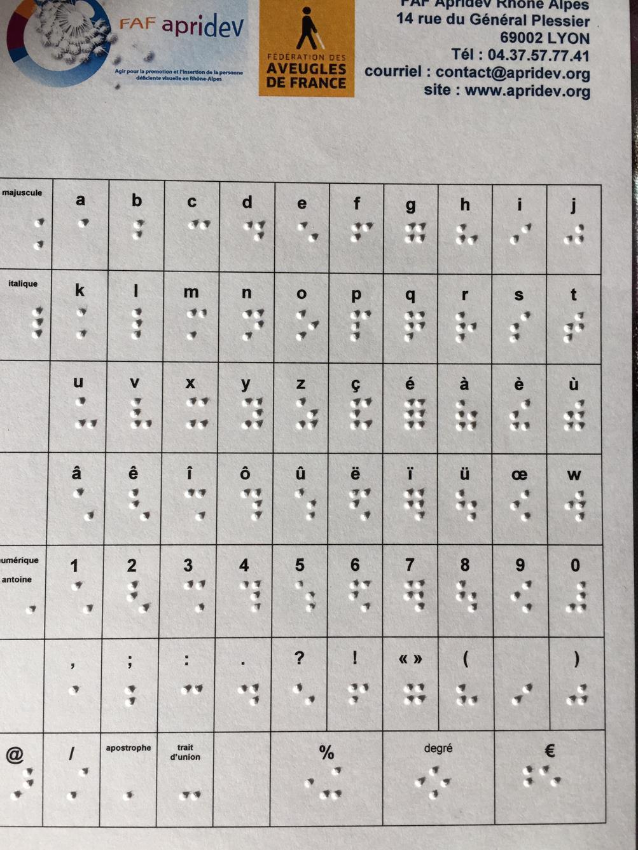 Un alphabet braille : plusieurs cases déclinent la notation en braille de chaque lettre de l'alphabet avec mention d'italique ou de majuscule, ainsi que certaines marques de ponctuation et caractères spéciaux (mathématiques notamment)