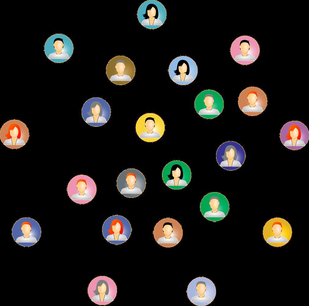 Un dessin représentant la notion de réseau: des silhouettes de toutes les couleurs - hommes et femmes sont reliées par des connexions en étoiles