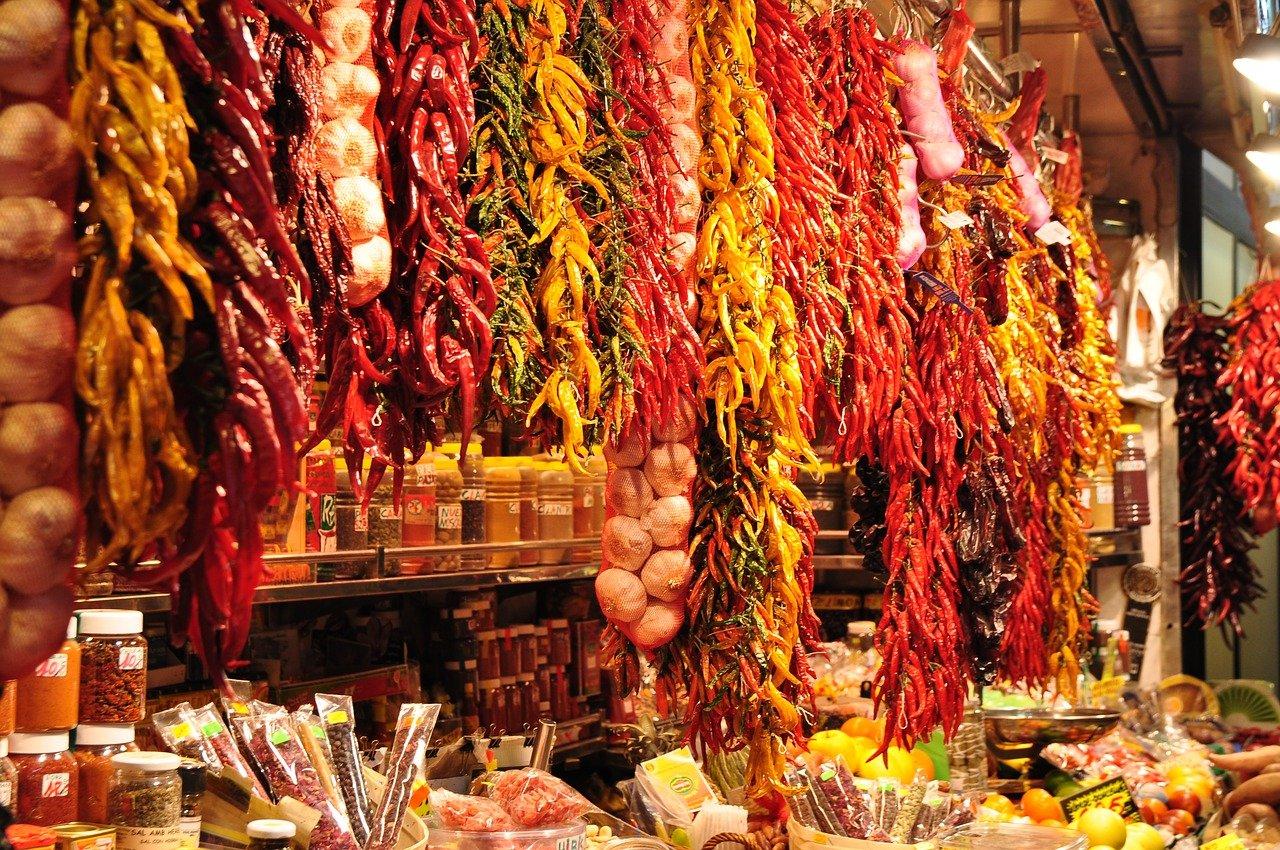 au-dessus de la devanture d'un étal de marché méditerranéen, des dizaines de grappes de piments suspendues descendent sur l'étal et s'entremêlent dans des variantes de rouge, oranges, jaunes, roses.